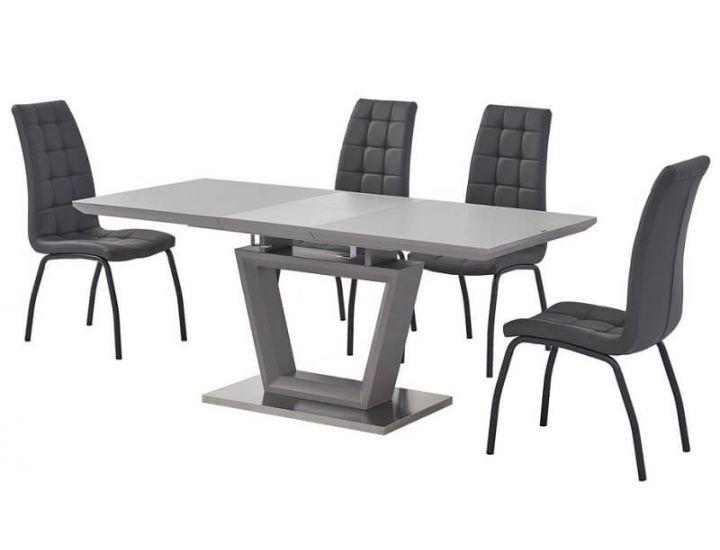 Раскладной стол стеклянный матовый TMM-51 серый 140 (+40)*80*76 см
