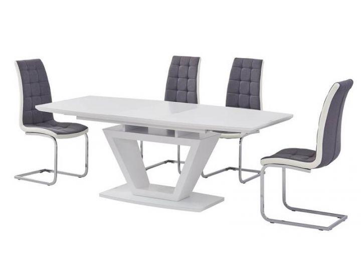 Стол стеклянный обеденный TMM-53-2 матовый белый 160 (+40)*90*76 см