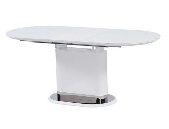 Раскладной стол стеклянный матовый TMM-56 белый 140 (+40)*80*76 см