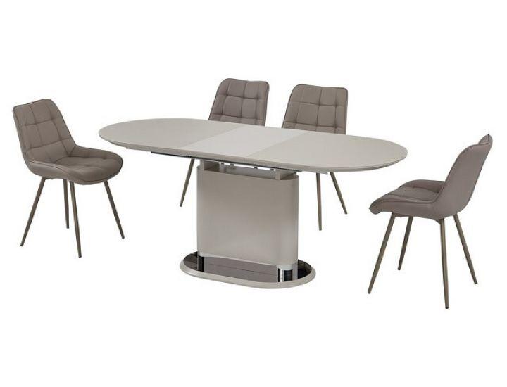 Раскладной стол стеклянный матовый TMM-56 капучино 140 (+40)*80*76 см