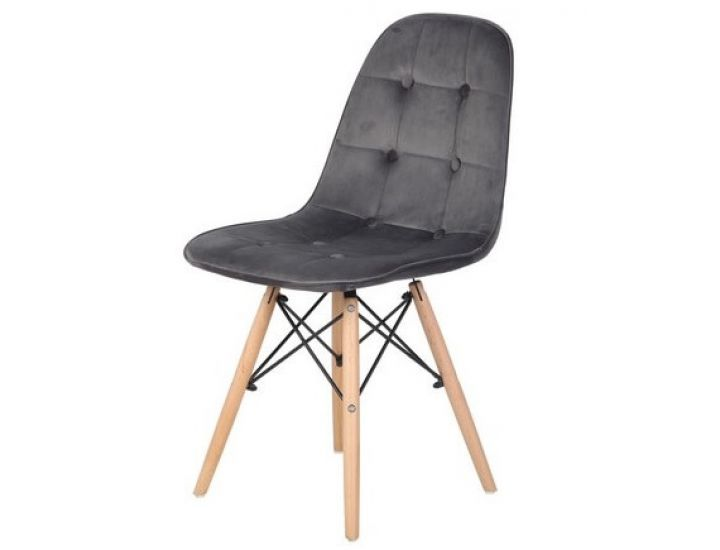 Дизайнерский мягкий стул M-01 серый вельвет