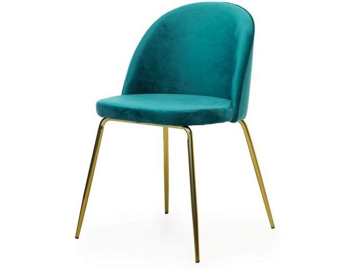 Дизайнерский мягкий стул M-12-3 лазурный матовое золото