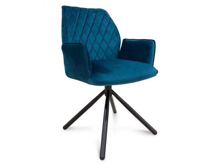Дизайнерский мягкий стул поворотный M-34 лазурный вельвет