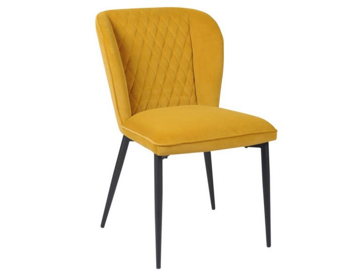 Дизайнерский мягкий стул M-44 матовый горчичный вельвет