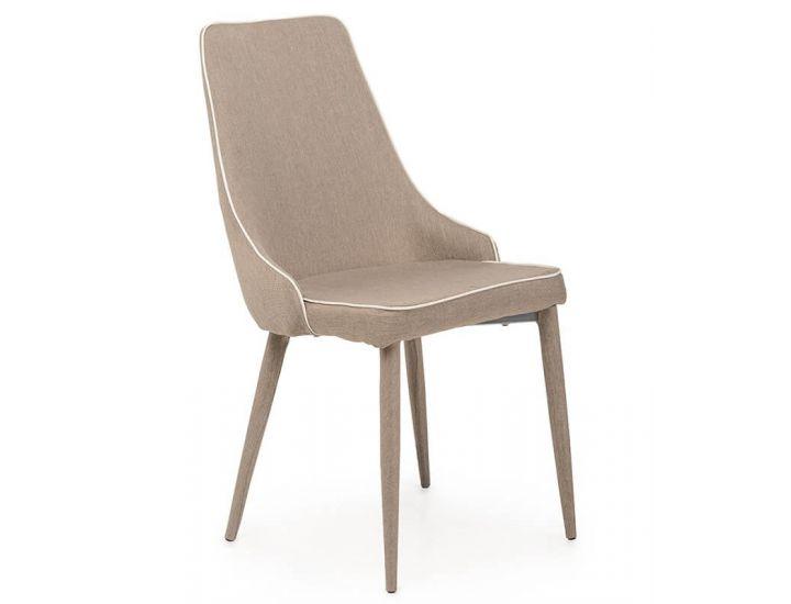 Дизайнерский мягкий стул M-03 ткань кофе мокко с белым кантом