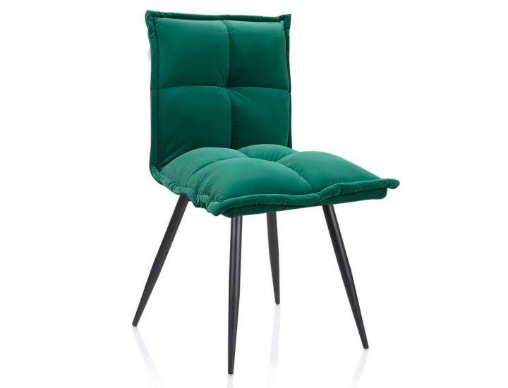 Дизайнерский мягкий стул N-130 матовый темно-зеленый вельвет