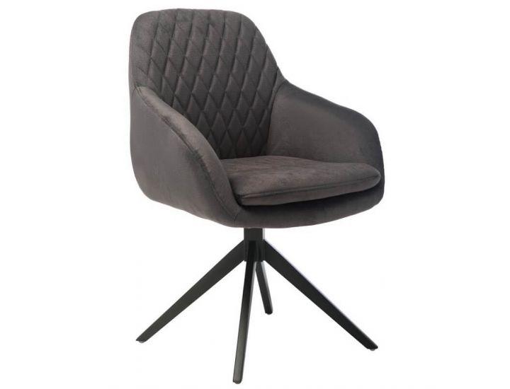 Дизайнерский мягкий стул поворотный R-85 графит ткань