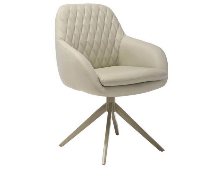 Дизайнерский мягкий стул поворотный R-85 светло-серый