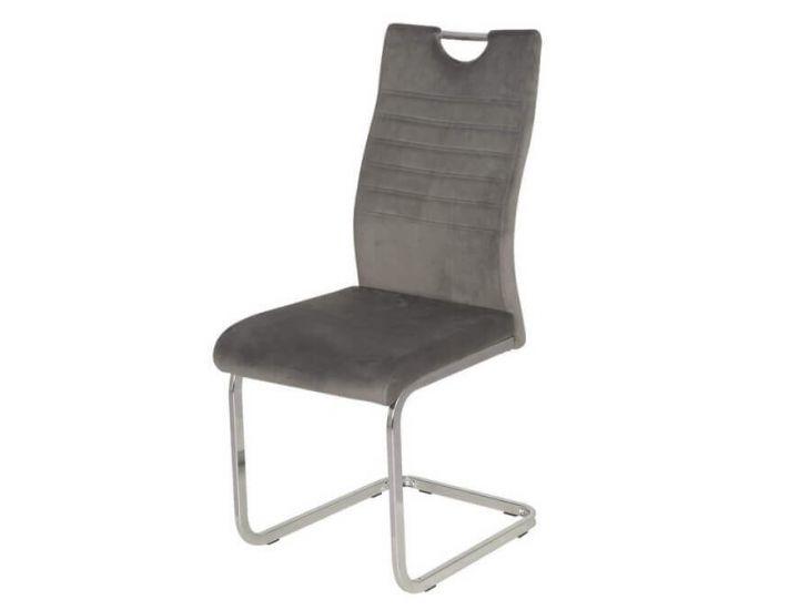 Дизайнерский мягкий стул S-120 серый вельвет VETRO (Ветро)