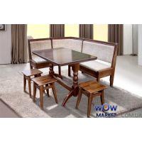 Кухонный уголок Семейный 170х130 бук 7 и Г (уголок+стол+3 табурета) Микс-Мебель