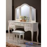 Будуарный стол с зеркалом и пуфом Богемия (античный белый) Domini (Домини)