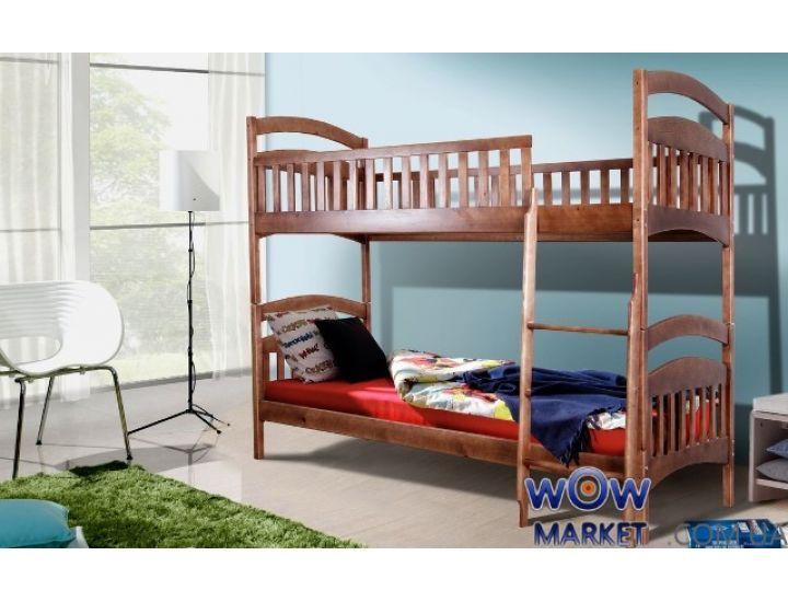 Кровать двухъярусная Кира (Сосна) 80х200см орех темный Микс Мебель Уют