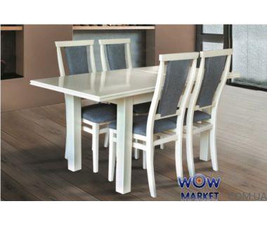 Стол раскладной Петрос (белый, слоновая кость) 1200(+400)*800мм Микс-Мебель Карпаты