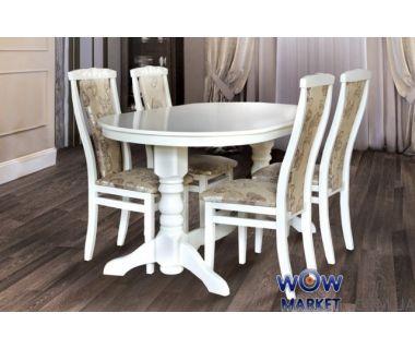 Стол раскладной Говерла 1600(+400)*900мм (слоновая кость, белый) Микс-Мебель Карпаты