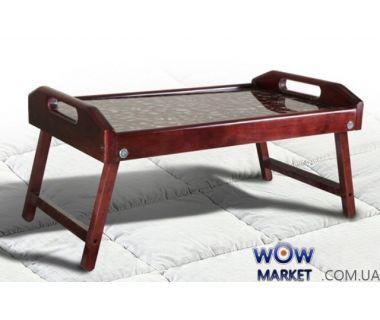 Столик для завтрака в постель, стекло с рисунком кофе Микс Мебель