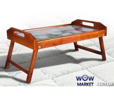 Столик для завтрака в постель, стекло с рисунком тюльпанов Микс Мебель