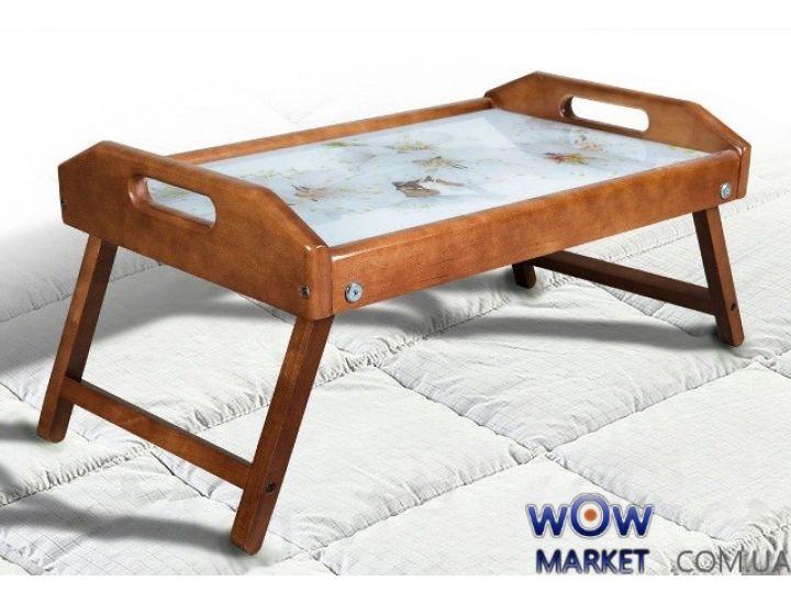 Столик для завтрака в постель, стекло с рисунком цветов яблони Микс Мебель
